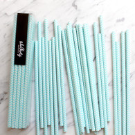 Baby Blue Chevron Paper Straws - Pack of 25