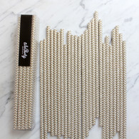 Gold Chevron Paper Straws - Pack of 25
