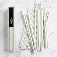 Pastel Mint Swiss Dot Paper Straws - Pack of 25