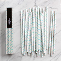 Baby Blue Swiss Dot Paper Straws - Pack of 25