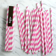 Neon Candy Pink Stripe Paper Straws - Pack of 25