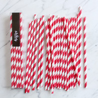 Strawberry Red Stripe Paper Straws - Pack of 25