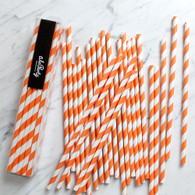 Orange Stripe Paper Straws - Pack of 25