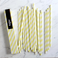 Banana Yellow Stripe Paper Straws - Pack of 25