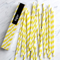 Lemon Yellow Stripe Paper Straws - Pack of 25