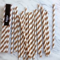 Chocolate Brown Stripe Paper Straws - Pack of 25