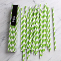 Lime Green Stripe Paper Straws - Pack of 25