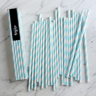 Baby Blue Stripe Paper Straws - Pack of 25