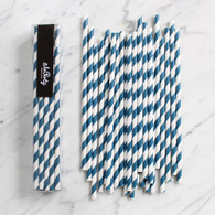 Navy Stripe Paper Straws - Pack of 25