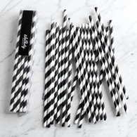 Black Stripe Paper Straws - Pack of 25