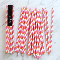 Pink & Orange Stripe Paper Straws - Pack of 25