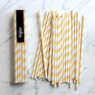 Banana & Cream Stripe Paper Straws - Pack of 25