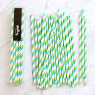 Lime & Blue Stripe Paper Straws - Pack of 25