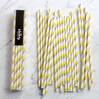 Lemon & Grey Stripe Paper Straws - Pack of 25