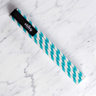 Extra Tall Aqua Blue Stripe Straws - Pack of 25