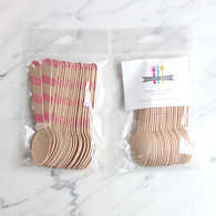 Sucre Shop Pink Stripe Ice Cream Spoons - Pack of 20