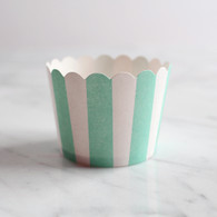 Mint Stripe Baking Cups - Pack of 25