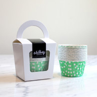 Bright Green Polka Dot Candy Cups - Pack of 12
