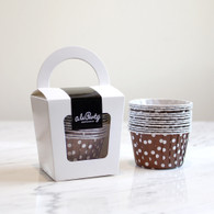 Chocolate Brown Polka Dot Candy Cups - Pack of 12