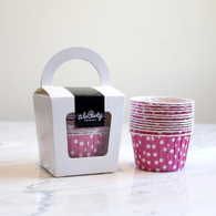 Raspberry Pink Polka Dot Candy Cups - Pack of 12