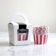 Strawberry Red Stripe Candy Cups - Pack of 12