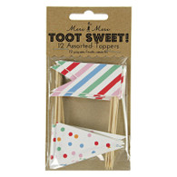 Meri Meri Toot Sweet Flag Food Picks - Pack of 12