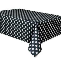 Black Polka Dot Plastic Table Covers