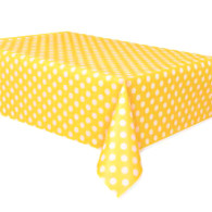 Yellow Polka Dot Plastic Table Covers