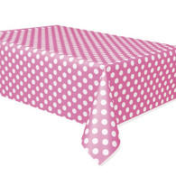 Pink Polka Dot Plastic Table Covers