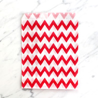 Strawberry Red Chevron 13x18cm Treat Bags - 6 pack