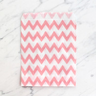 Baby Pink Chevron 13x18cm Treat Bags - 6 pack