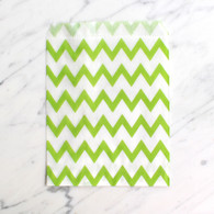 Lime Green Chevron 13x18cm Treat Bags - 6 pack