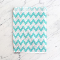 Baby Blue Chevron 13x18cml Treat Bags - 6 pack
