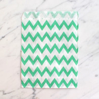 Mint Green Chevron 13x18cm Treat Bags - 6 pack