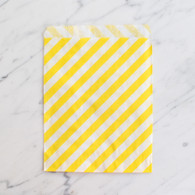 Lemon Yellow Stripe 13x18cm Treat Bags - 6 pack