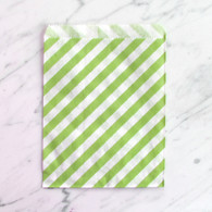 Lime Green Stripe 13x18cm Treat Bags - 6 pack