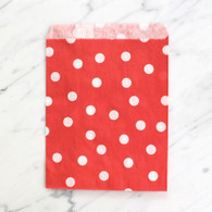Strawberry Red Polka Dot 13x18cm Treat Bags - 6 pack