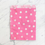 Candy Pink Polka Dot 13x18cm Treat Bags - 6 pack