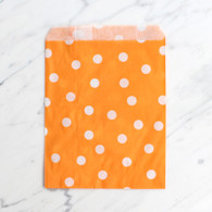 Orange Polka Dot 13x18cm Treat Bags - 6 Pack