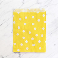 Lemon Yellow Polka Dot 13x18cm Treat Bags - 6 Pack