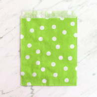 Lime Green Polka Dot 13x18cm Treat Bags - 6 Pack