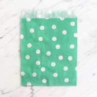 Mint Green Polka Dot 13x18cm Treat Bags - 6 Pack