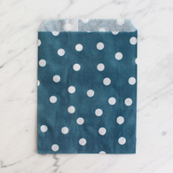 Navy Polka Dot 13x18cm Treat Bags - 6 Pack