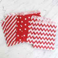Strawberry Red 13x18cm Treat Bags, Mixed Pattern - 6 Pack
