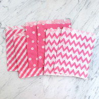 Candy Pink 13x18cm Treat Bags, Mixed Pattern - 6 Pack