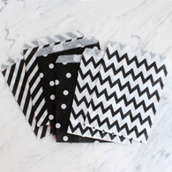 Black 13x18cm Treat Bags, Mixed Pattern - 6 Pack