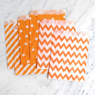 Orange 13x18cm Treat Bags, Mixed Pattern - 6 Pack