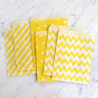 Lemon Yellow 13x18cm Treat Bags, Mixed Pattern - 6 Pack