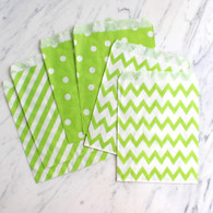 Lime Green 13x18cm Treat Bags, Mixed Pattern - 6 Pack