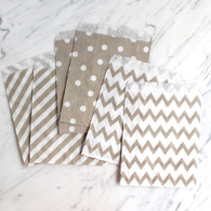 Grey 13x18cm Treat Bags, Mixed Pattern - 6 Pack